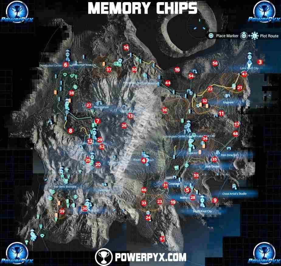 la posizione di tutti i chip di memoria di death stranding