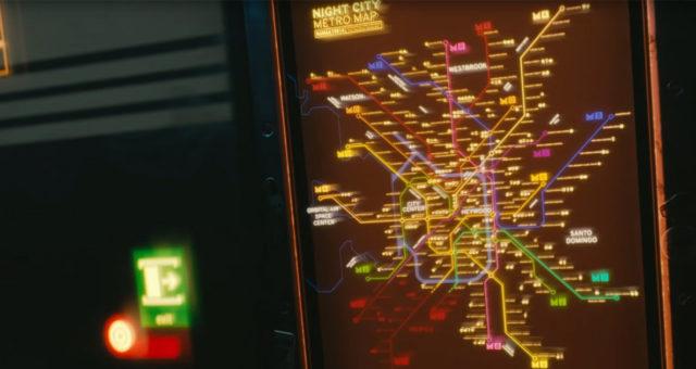 mappa della metro di night city in cyberpunk 2077