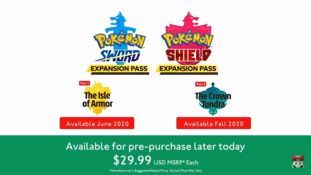 Pokémon Sword & Shield expansion pack names and prices