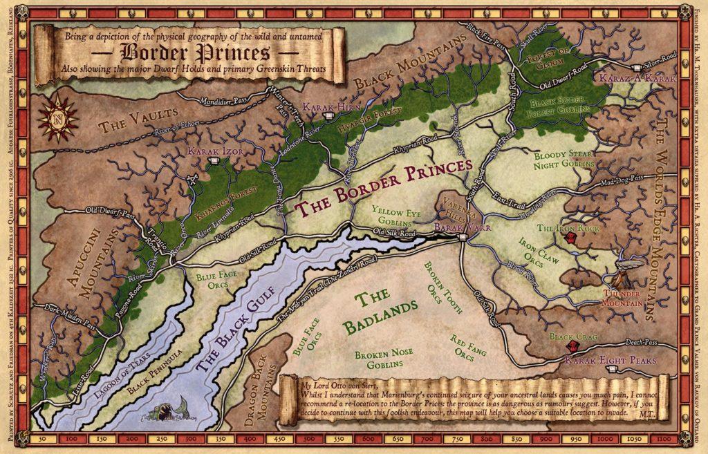 Mappa dei Principati di Confine di Warhammer Fantasy