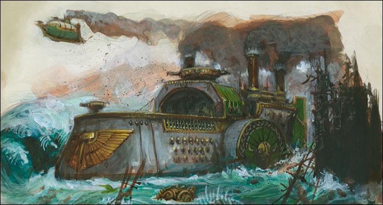 Artwork della nave nanica Tuono di Grimnir
