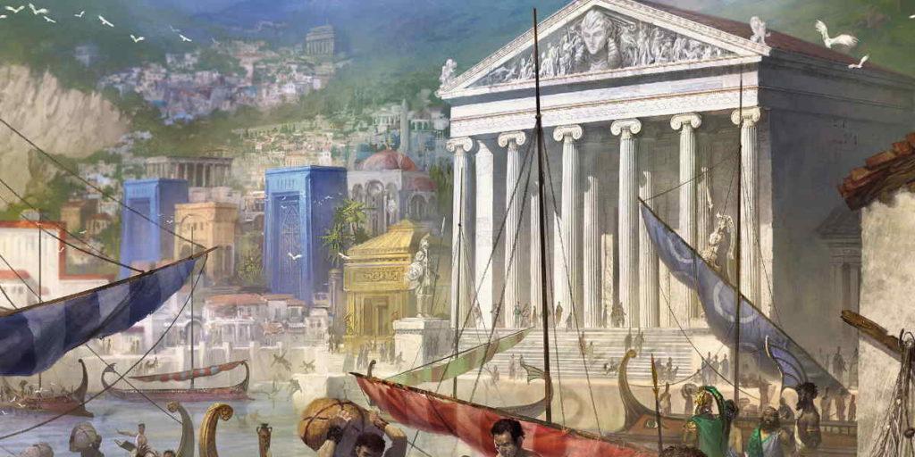 Una veduta di Theros, il Piano d'Esistenza dove si svolgono le vicende di Theros Beyond Death i Magic: the Gathering