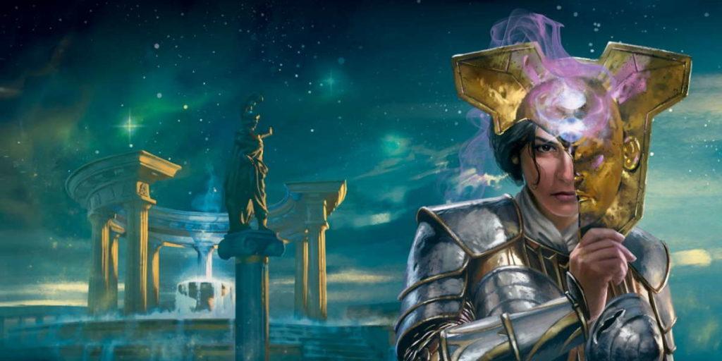 Elspeth ritratta nell'Ade in una illustrazione promozionale di Theros Beyond Death in Magic: the Gathering.