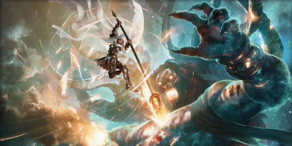 Elspeth distrugge Xenagos, un fatto avvenuto nel setting di Theros di Magic: the Gathering