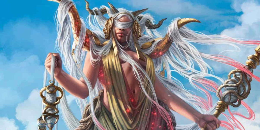 Klothys, la Dea del Destino del piano di Theros in Magic: the Gathering.