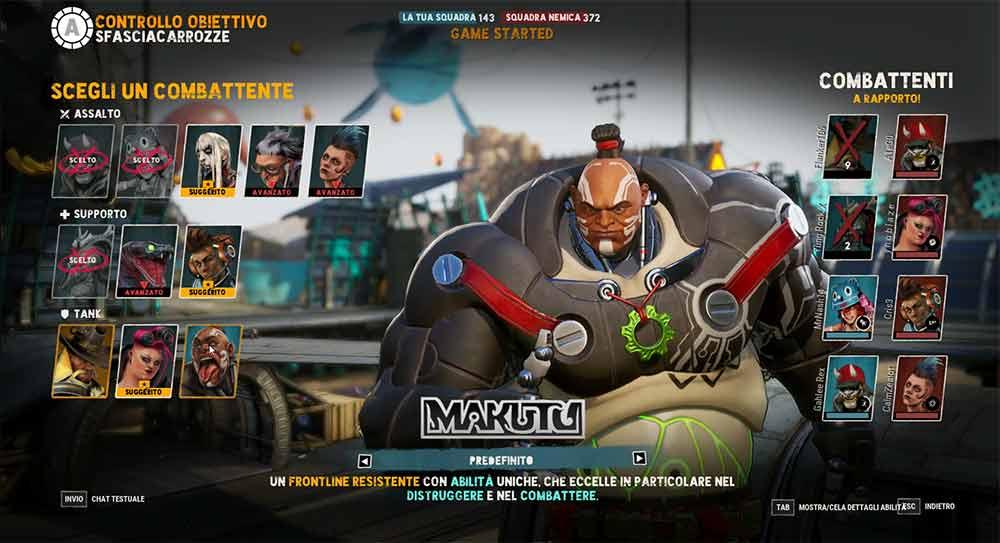 makutu nella selezione personaggio