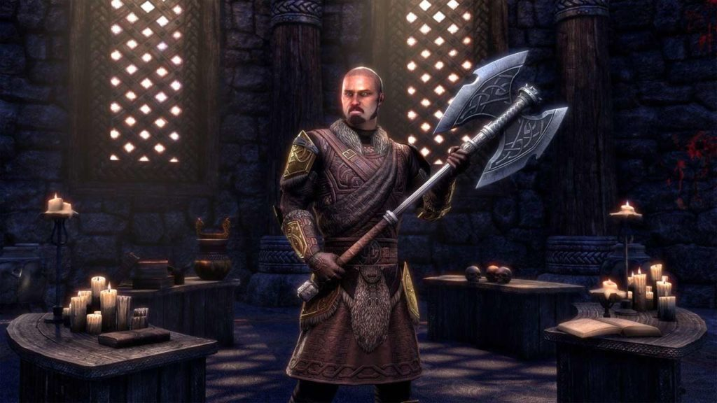 L'outfit style Lyris' Icereach Battle Axe introdotto dal DLC Harrowstorm di ESO