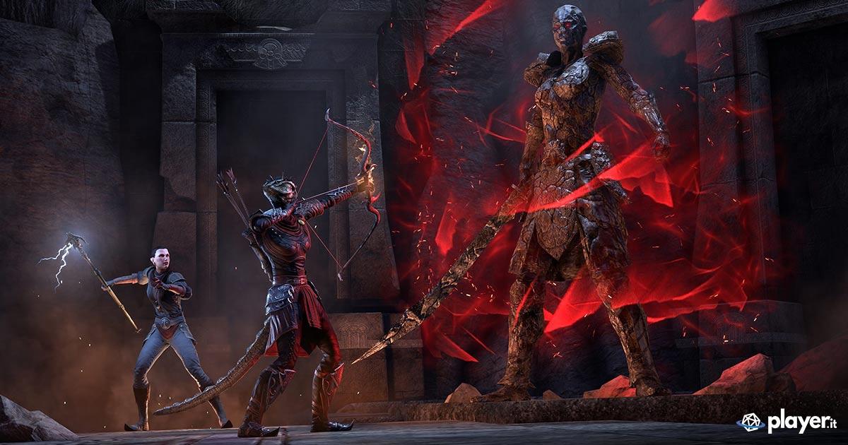 Un boss di Unhallowed Grave, uno dei due nuovi dungeon introdotti dal DLC dungeon pack Harrowstorm per The Elder Scrolls Online