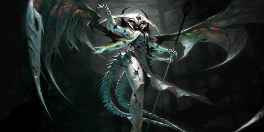 Atraxa, uno dei più celebri e giocati Comandanti nel formato Commander di Magic: the Gathering.