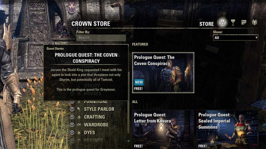 Il quest starter gratuito per The Coven Conspiracy si ottiene nel Crown Store di The Elder Scrolls Online