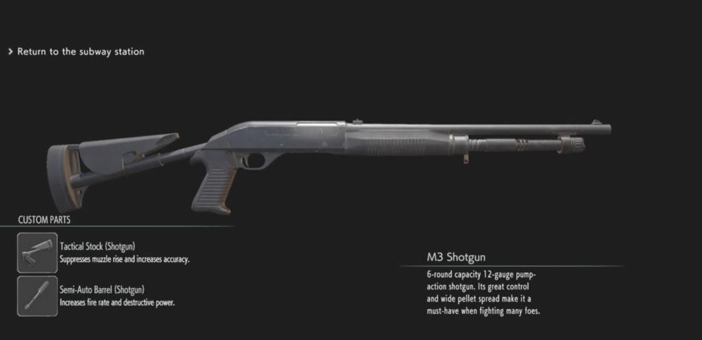 Resident Evil 3 Remake fucile m3