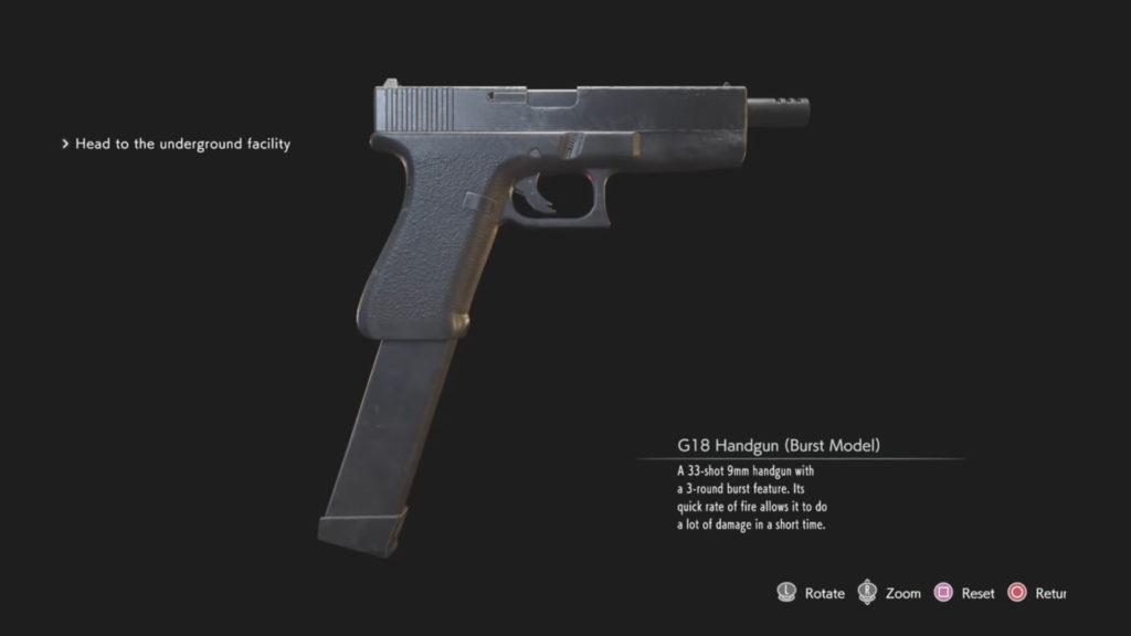 Resident Evil 3 Remake Pistola G18 Modalità Raffica