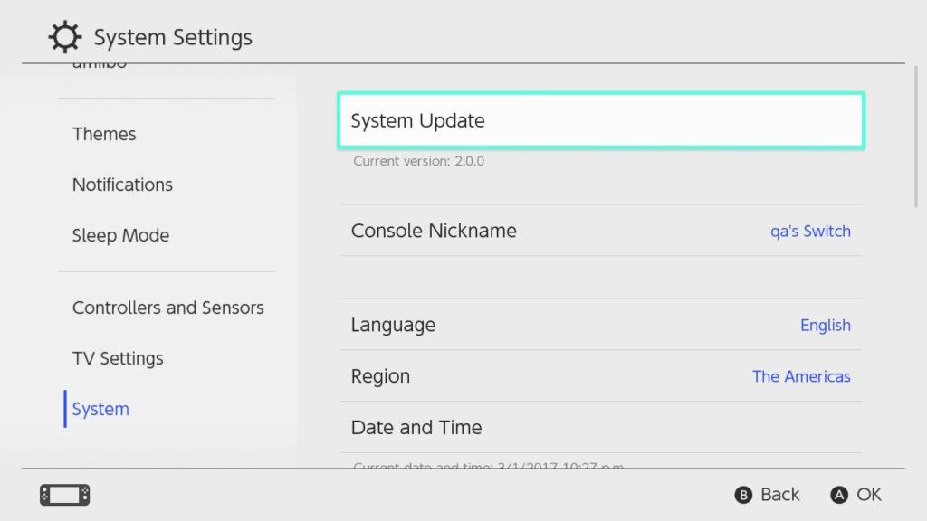 Screenshot sul system settings