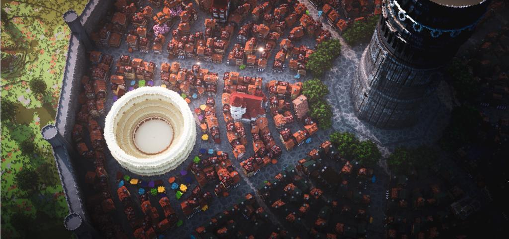 La città di Orario dall'alto