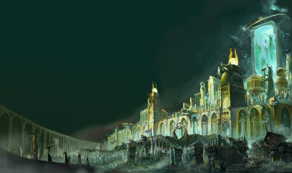 Vista di una città di Age of Sigmar