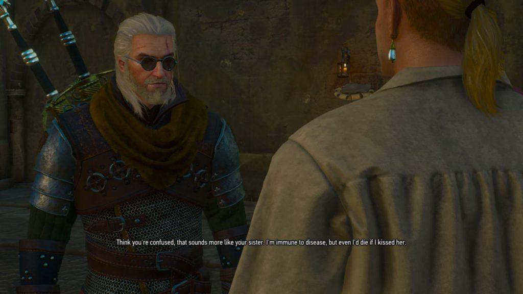 Qui vediamo Geralt contro un NPC che somiglia in modo sospetto a Guybrush Threepwood, in un tributo agli scontri verbali di Monkey Island