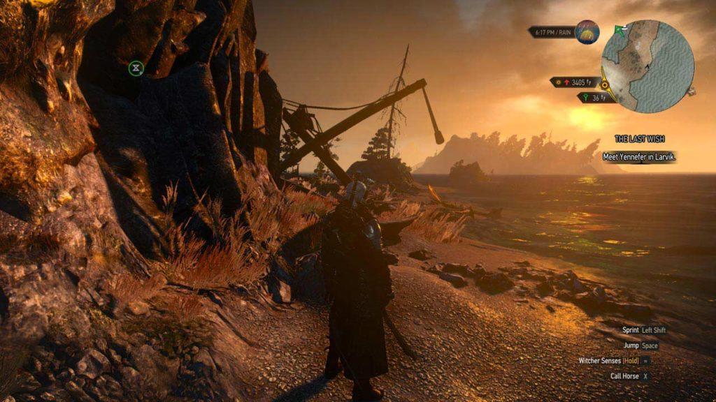 Il nostro Geralt si gode il tramonto in riva al mare
