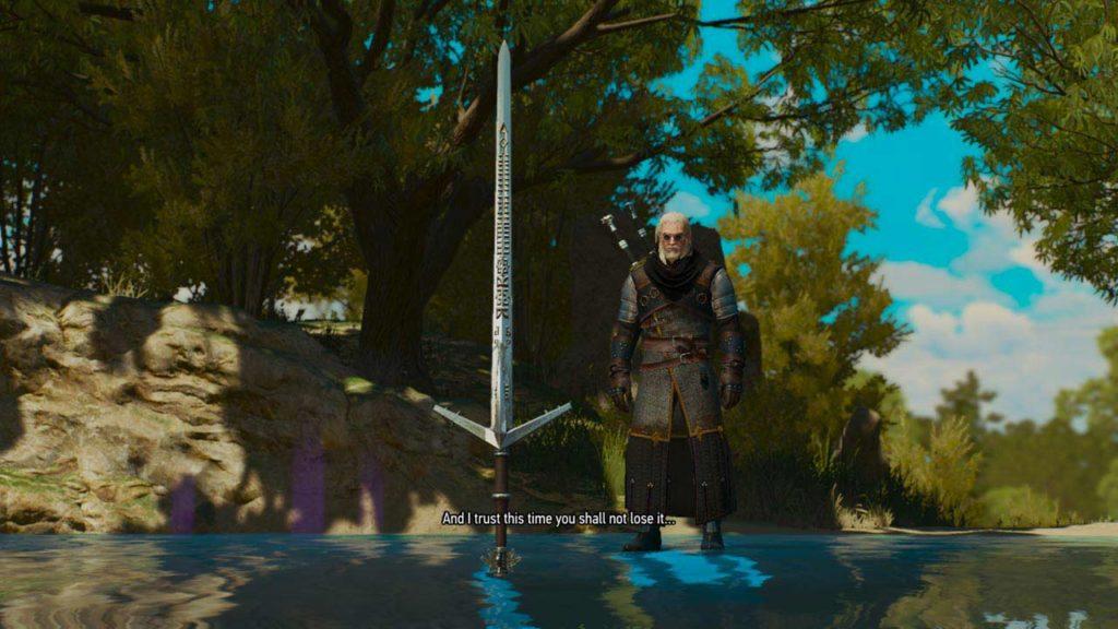 Geralt riceve la spada magica Aerondight dalla Dama del Lago... per la seconda volta