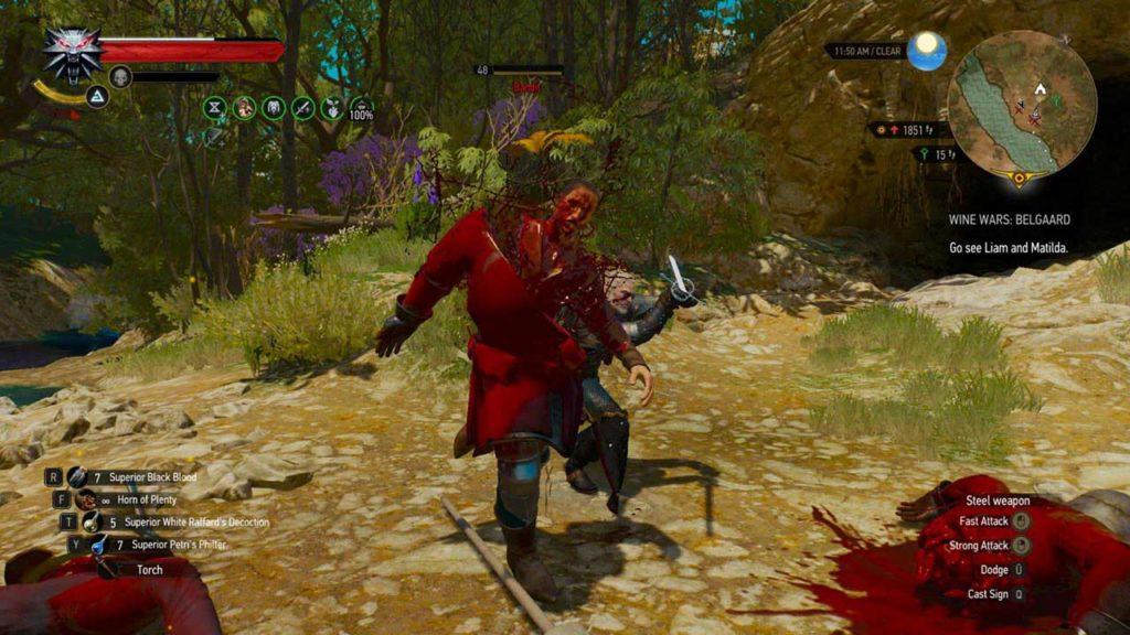 Geralt taglia in due un bandito