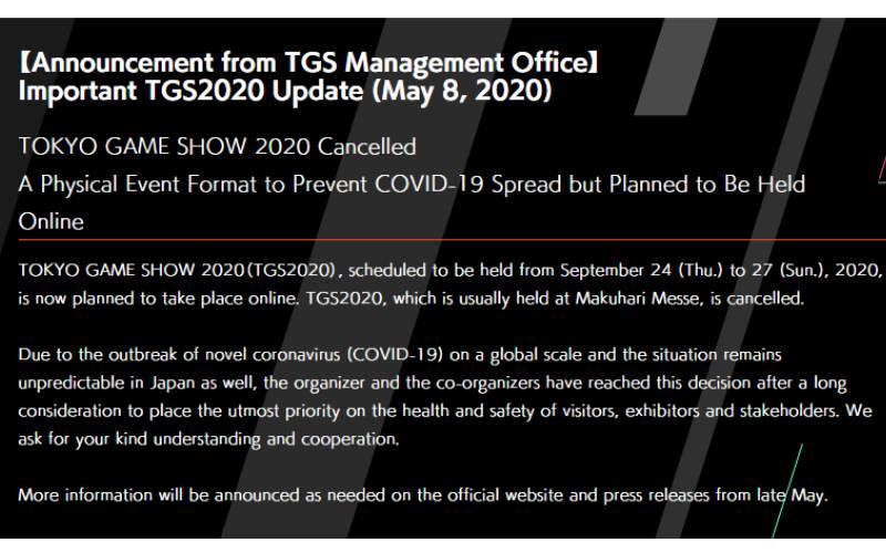 Tokyo Game Show, Tokyo Game Show 2020, TGS, TGS 2020, Coronavirus, Covid-19