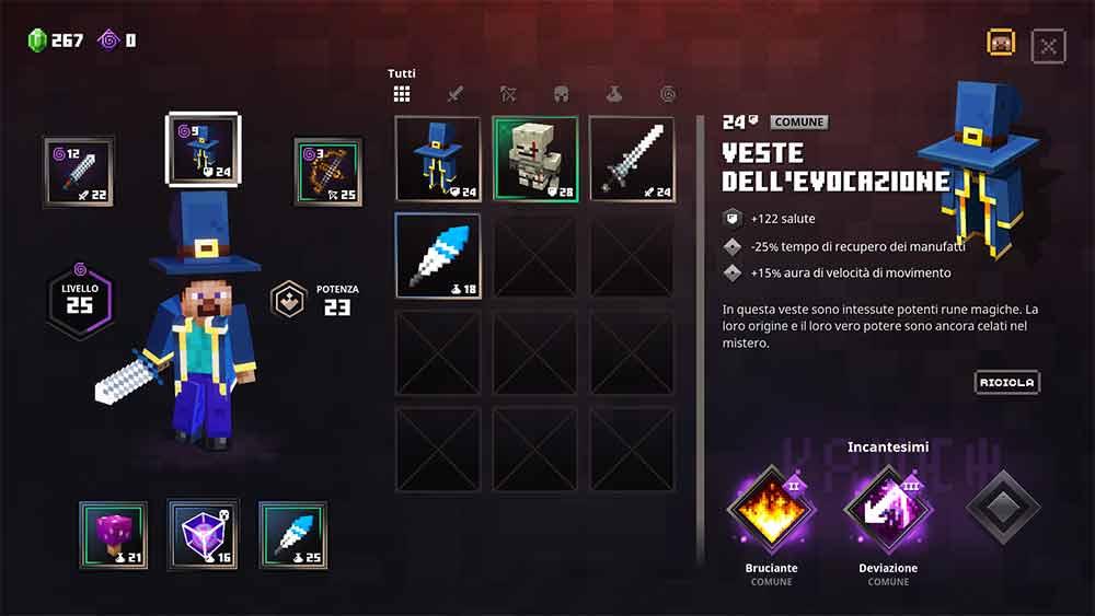 minecraft dungeons equipaggiamento