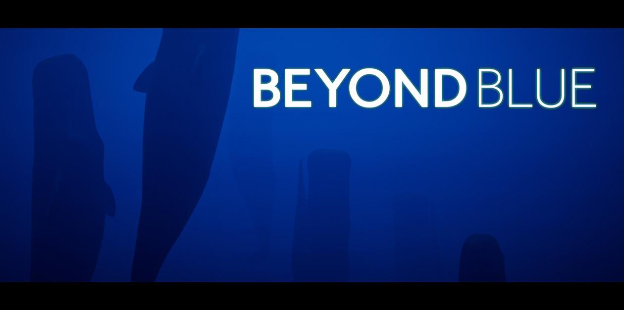 Copertina di Beyond Blue, con le balene che nuotano verso l'alto su sfondo blu scuro, ed il titolo del gioco