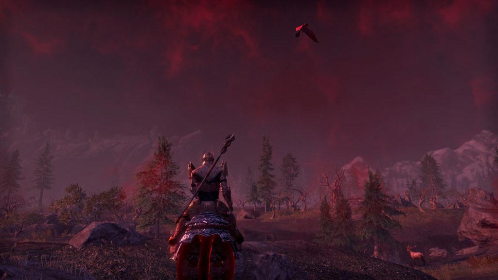 La nebbiolina rossa che precede una Harrowstorm in un Ritual Site di ESO: Greymoor