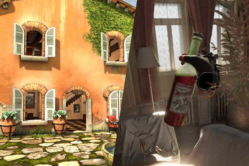 Confrontro tra due ere della VR. Da un lato, la prima casa in toscana dei primi DevKit, dall'altro, la famosa bottiglia di vino di half life alyx