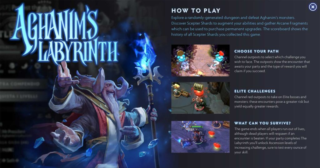 Istruzioni per giocare Aghanim's Labyrinth