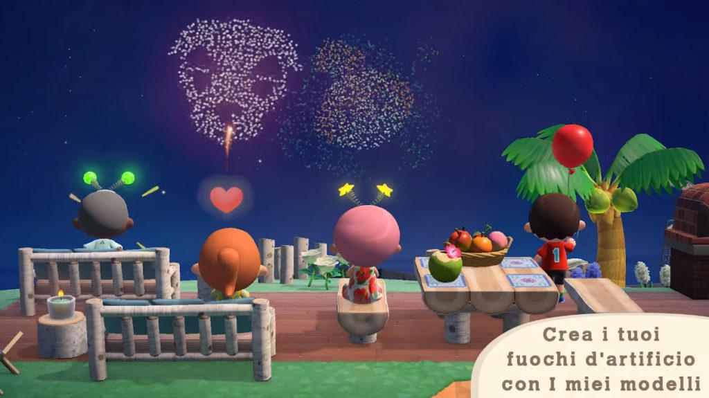 Giocatori di Animal Crossing: New Horizons guardano i fuochi d'artificio