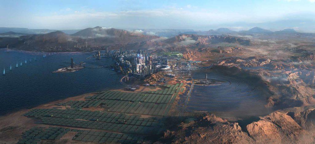Vista dall'alto delle Badlands attorno a Night City