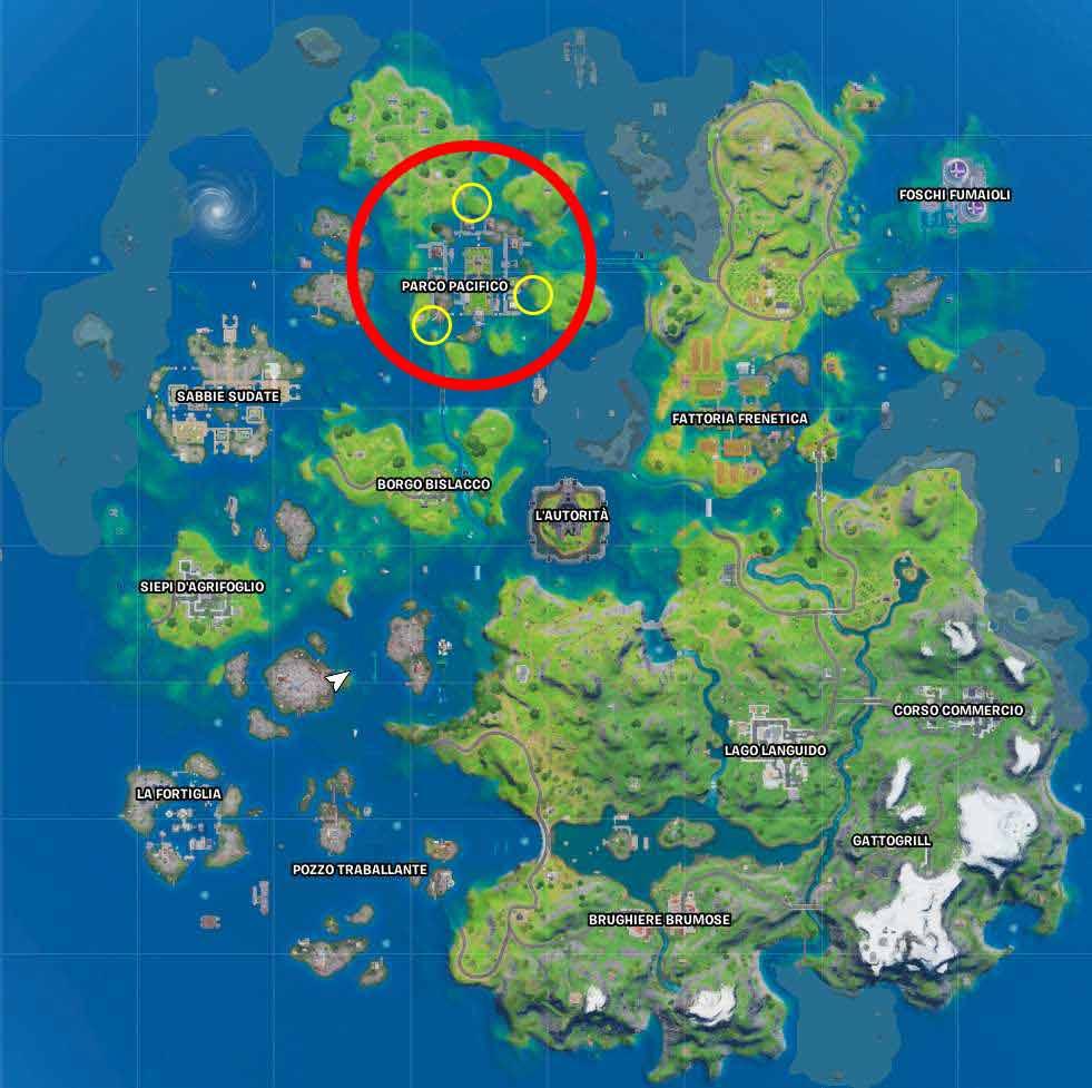 Fortnite mappa anelli fluttuanti parco pacifico