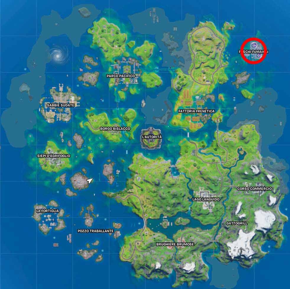 Fortnite mappa foschi fumaioli