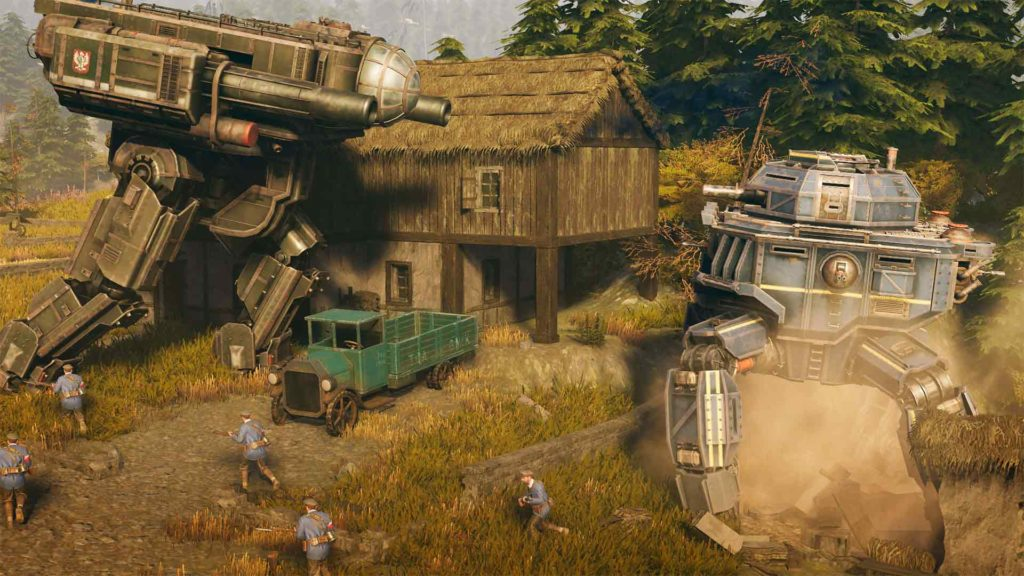 Due mecha giganti combattono in una fattoria