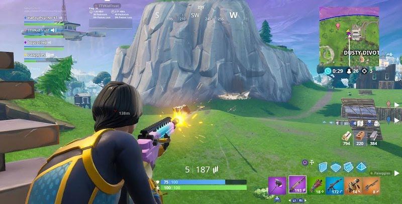 Schermata di Fortnite durante una partita
