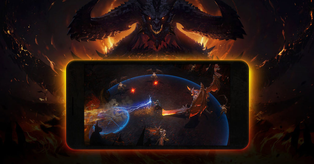 locandina di Diablo Immortal su uno smartphone