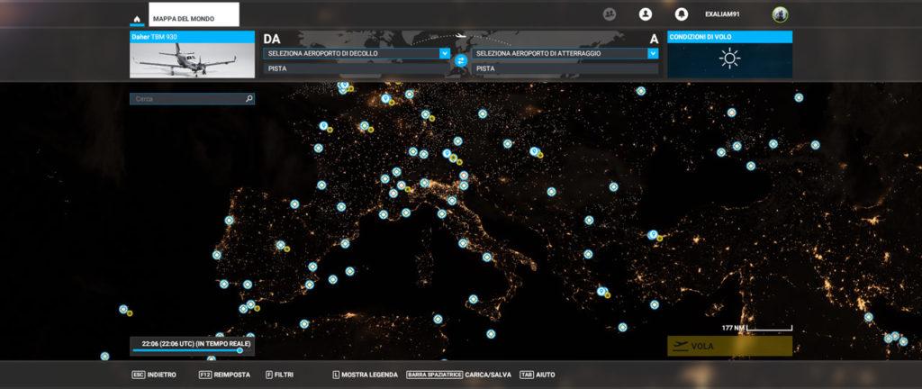 Mappa notturna del mondo di Microsoft Flight Simulator