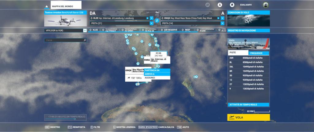 Pianificazione di un viaggio sulla mappa di Microsoft Flight Simulator
