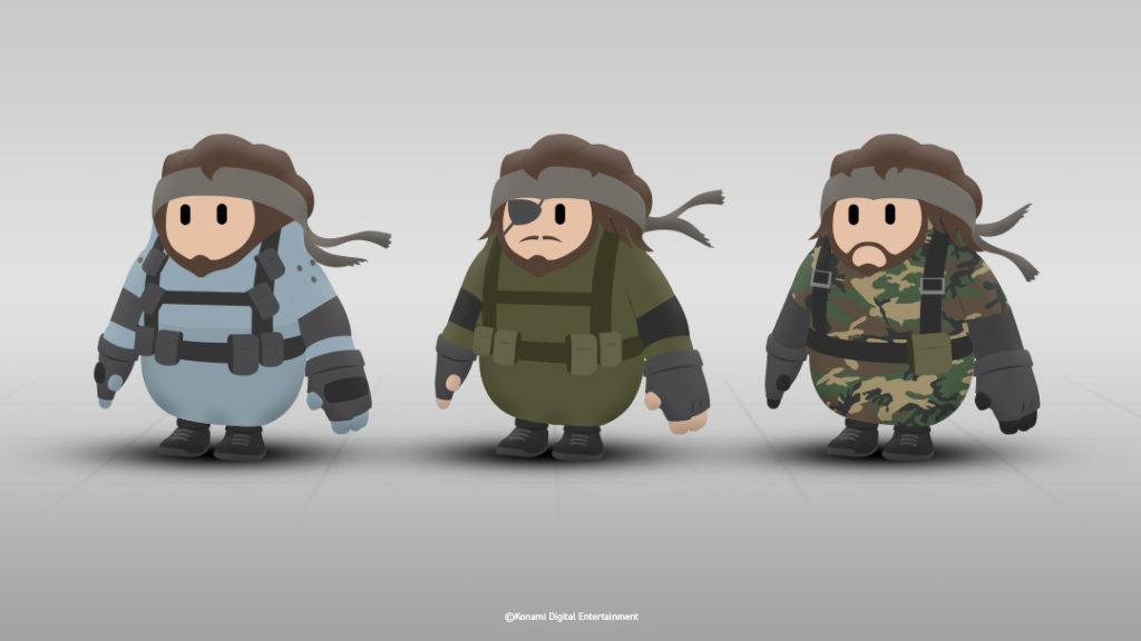 3 esempi di skin di Metal Gear Solid proposti da Konami per Fall Guys