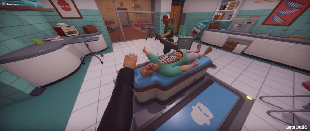 Due dottori operano un paziente in Surgeon Simulator 2
