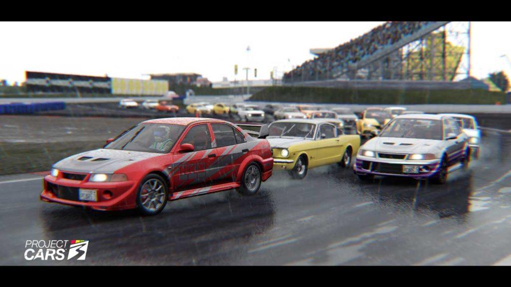 Partenza di una gara, vista in modalità cinematica. Prima curva, un disastro