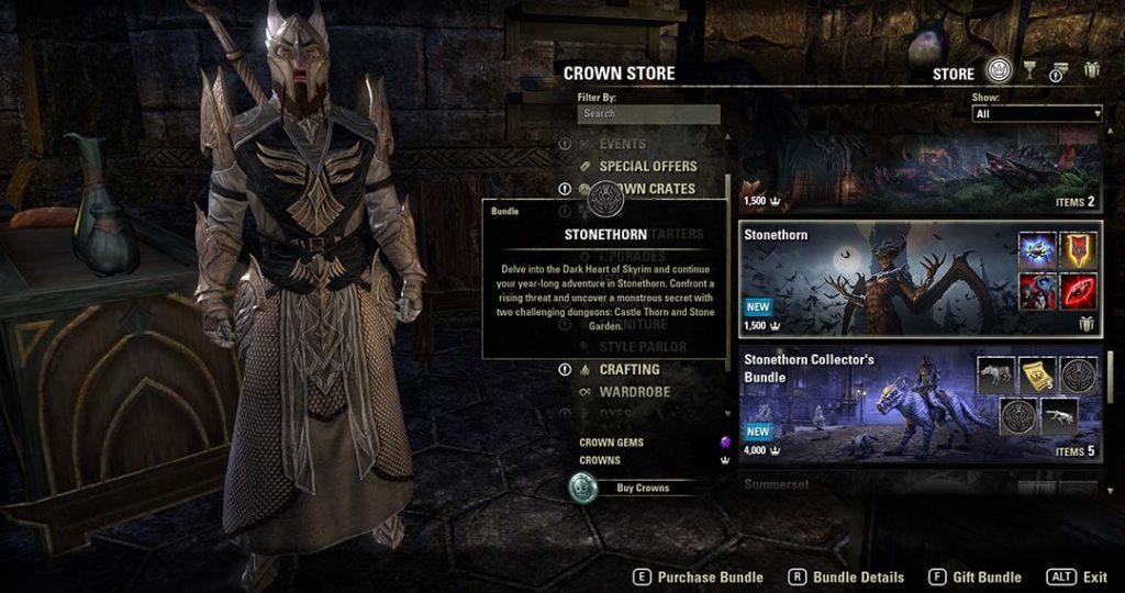 Come acquistare il DLC ESO Stonethorn nel Crown Store