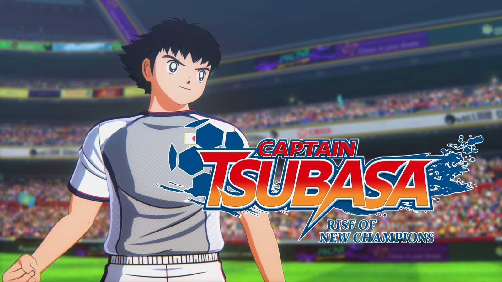 Cover di Captain Tsubasa, con tsubasa in primo piano e dietro il logo