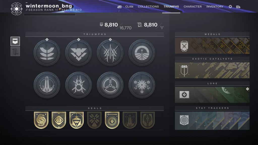 Nuova schermata trionfi Anno 4 di Destiny 2