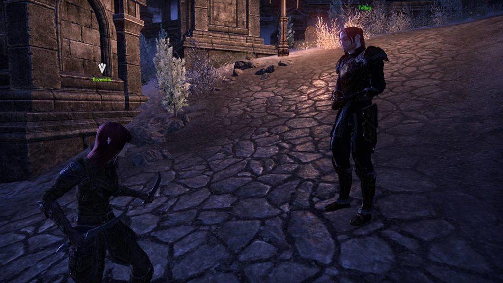 Gwendis e Talfyg all'esterno di Castle Thorn