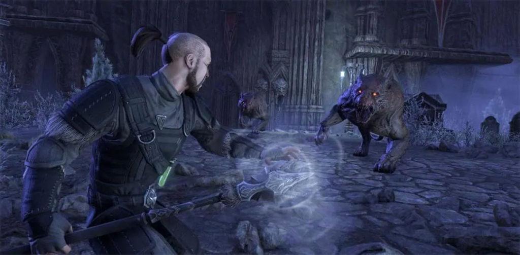 Uno degli scontri del dungeon Castle Thorn, parte del DLC ESO Stonethorn