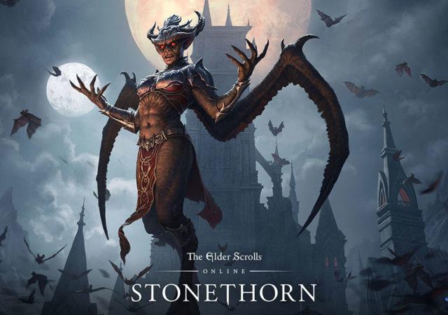 La copertina della nostra recensione del DLC The Elder Scrolls Online Stonethorn, con Lady Thorn in forma da Signora dei Vampiri
