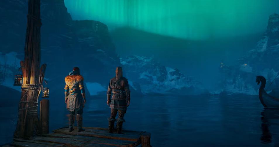 Eivor e Sigurd guardano l'aurora boreale in Assassin's Creed Valhalla