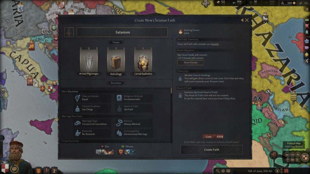 Creazione della propria Fede personalizzata in Crusader Kings III