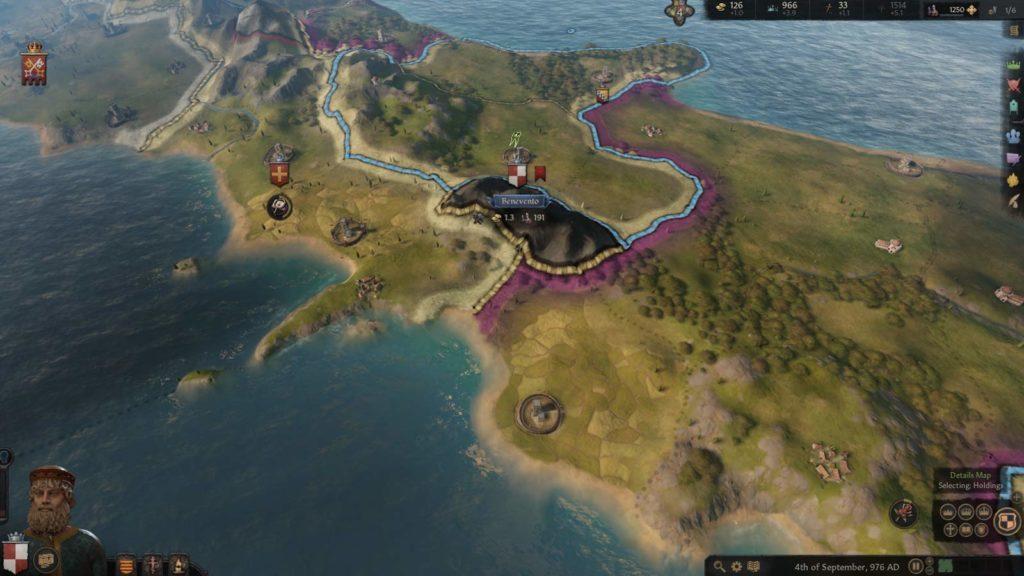 Vista ravvicinata sulla mappa in Crusader Kings III